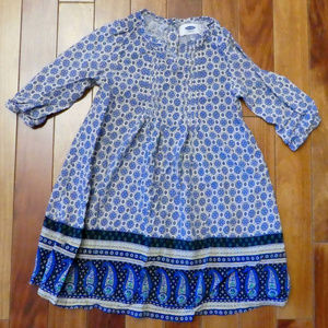 Old Navy Blue Floral Dress w/ 3/4 Sleeves